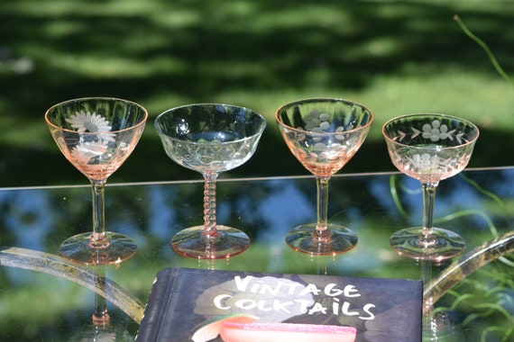 Vintage PINK Cocktail ~ Martini ~ Champagne Glasses, Set of 4 Mis-Matched Glasses, Pink Depression Glass Circa 1930-1950's