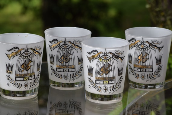 Vintage Georges Briard Flared Rocks Glasses, Set of 5 Whiskey ~ Scotch Glasses, Vintage Briard Cocktail Glasses 1950's Lowball Glasses