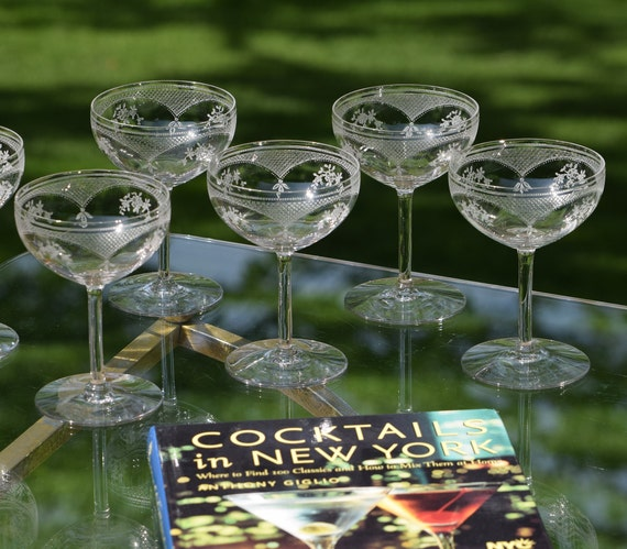 Vintage Needle Etched Champagne Coupes - Cocktail Glasses Set of 5, circa 1920's, Mixologist Craft Cocktail Glasses, Manhattan Glasses