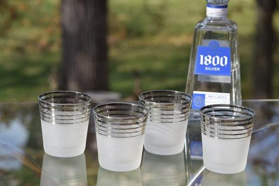 Vintage Platinum Silver Rim - Stripes Whiskey 8 oz Lowball Glasses, Set of 4, Vintage Cocktail Lowball Glasses, On the Rocks Cocktail glass