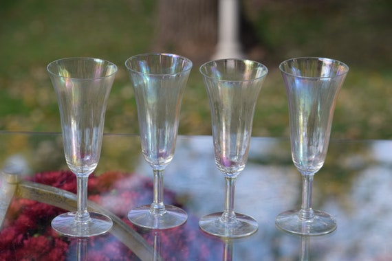Vintage Iridescent Champagne Flutes ~ Glasses, Set of 4, Vintage Iridescent Champagne Toasting glasses, Champagne Cocktail Glasses