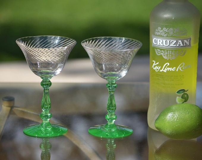 4 Vintage GREEN Uranium Cocktail ~ Martini Glasses, Tiffin Franciscan, Swirled Optic with Green Uranium Twisted Stem and Foot