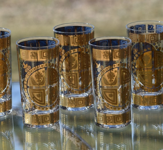 Vintage CULVER 22KT Gold Highball Glasses, Set of 7, Vintage Cocktail Glasses,  1950's Highball Glasses, Whiskey Bourbon Glasses