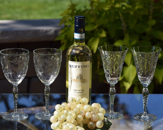4 Vintage Etched Wine Glasses, Set of 4 Mis-Matched Etched Wine Glasses ~ Water Goblets, Wine Glass Collector, Wedding Toasting Glasses