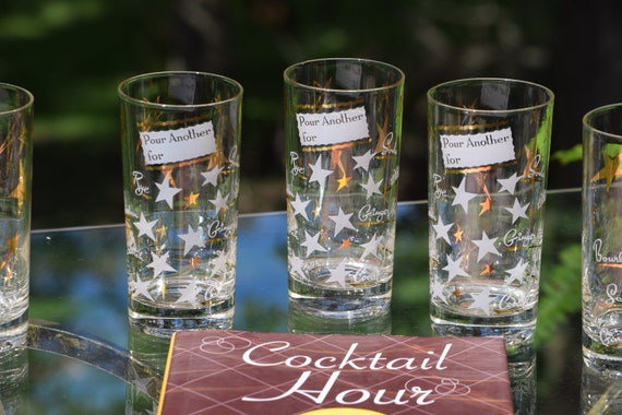 """Vintage Cocktail Highball Glasses, Set of 5, """"Pour Another For""""  Whiskey Highballs, Gin Glasses, 1950's 1960's  Barware, Mid Century Barware"""