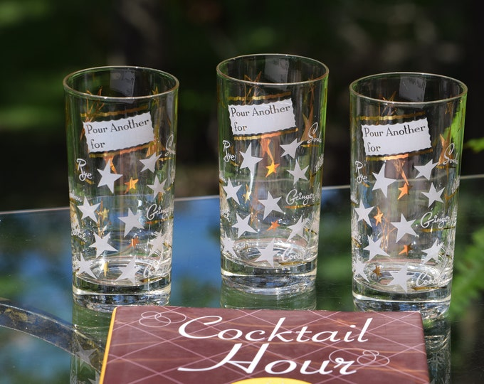 """5 Vintage Cocktail- Whiskey Highball Glasses, """"Pour Another For""""  Whiskey Highballs, 1950's 1960's  Barware, Mid Century Barware"""