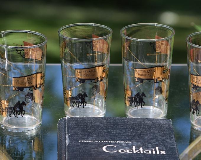 6 Vintage LIBBEY Highball Glasses ~ Cocktail Glasses, 1950's LIBBEY ~ Kattelman Trucking ~ Ranch ~ Horses Whiskey Bourbon Glasses