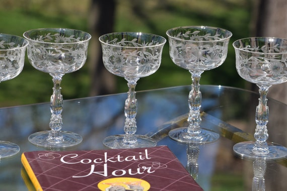 Vintage Etched Cocktail Martini Glasses, Set of 6,  Fostoria, circa 1940's, Mixologist Craft Cocktail Glass, Vintage Etched Champagne Coupes