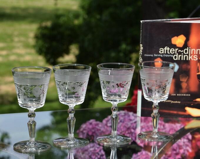 4 Vintage Etched Wine Glasses, Vintage Small 6 oz Wine glasses, After Dinner Drinks ~ Limoncello ~ Liqueur ~ Port ~ Dessert Wine