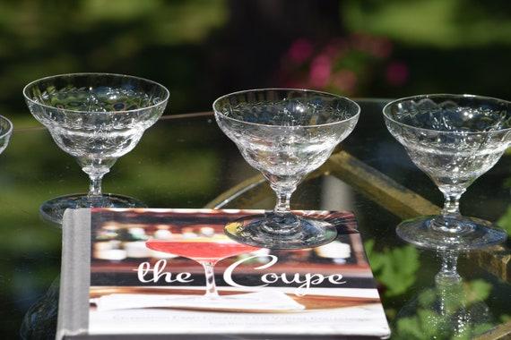 Vintage Etched CRYSTAL Cocktail Glasses, Set of 6, Vintage Cocktail Coupes, Vintage Etched Champagne Glasses - Martini Glasses