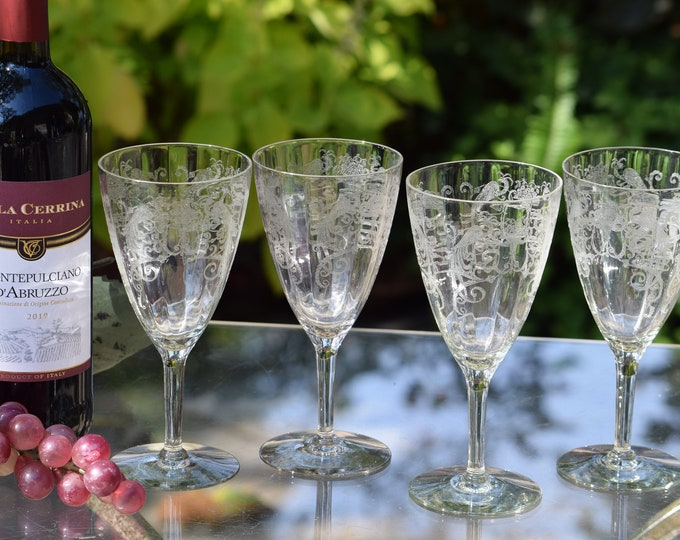6 Vintage Acid Etched Wine Glasses,  Lippincott - Bird of Paradise, 1940's, Antique Etched Water Goblets, Vintage Wedding Glasses