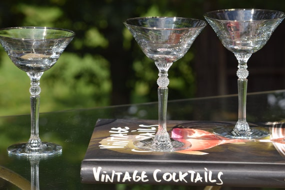 Vintage Silver Rim Cocktail - Martini Glasses Set of 4, Tall Vintage Platinum Rimmed Martini Glasses, Mixologist Craft Cocktail Glasses