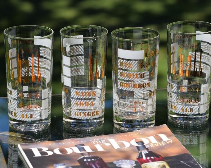 "7 Vintage Cocktail Highball Glasses ~ Whiskey Glasses, ""Likes Rye Scotch Bourbon""  Highballs, Gin Glasses, 1950's Mid Century Barware"