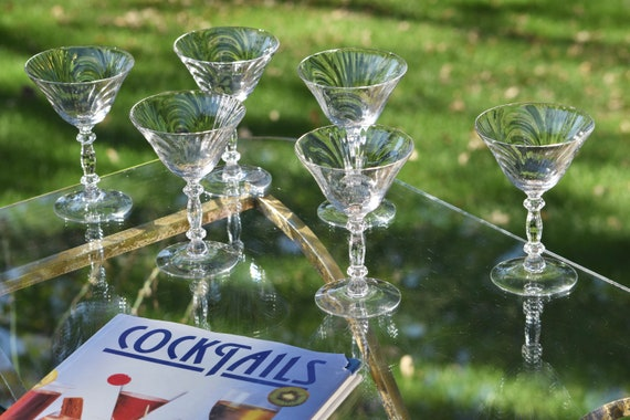 Vintage Cocktail Martini Glasses, Set of 6, Cambridge Caprice, circa 1950's,  Vintage Optic Martini Glasses, Champagne Glasses
