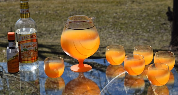 Vintage BLENDO Style Orange Fade Cocktail Pitcher with 6 Roly Poly Glasses, Mad Men Style, Retro Cocktail Party Set, Mixologist Glasses