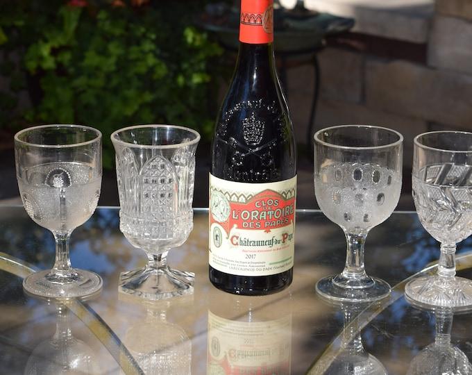 4 Antique Pressed Glass Wine Glasses, Boston Silver, c 1869, 4 Mis-Matched EPAG Antique Wine Glasses, Elegant Pressed Glass Wine Glasses