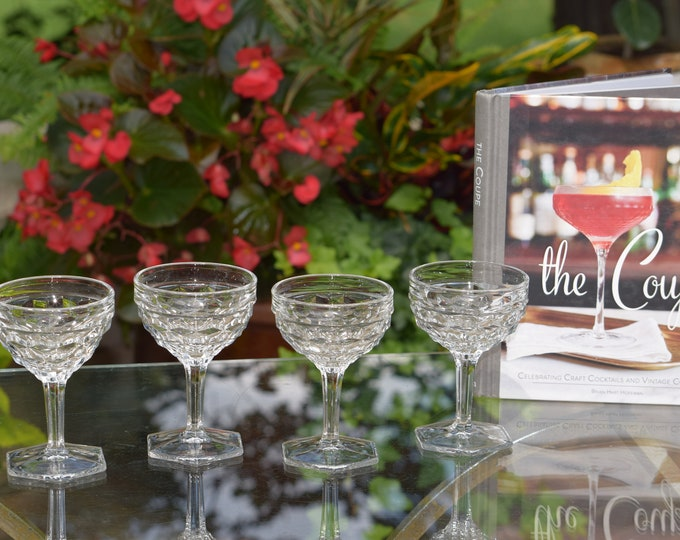 4 Vintage Pressed Glass Cocktail Glasses, Fostoria, 1940's, Craft Cocktail Glasses,  Vintage Champagne Glasses, Vintage Cocktail Coupes