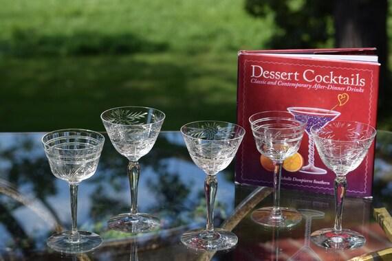 Vintage Etched Crystal Wine Liquor Cordials, Set of 5,  Mis-Matched 3 oz Liquor Cocktail Glasses, Vintage Wine Liquor Cordial 3-4 oz Glasses