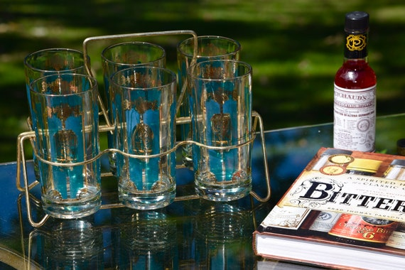 Vintage Turquoise & Gold Cocktail Highball Glasses Set of 6 with gold Caddy, Vintage Whiskey, Scotch Bourbon Highball glasses