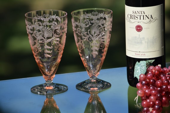 "Vintage Acid Etched Crystal PINK Cocktail ~ Wine Glasses, Set of 2, Fostoria, Versailles PINK, Ice Tea 5 7/8"", circa 1928, Craft Cocktails"