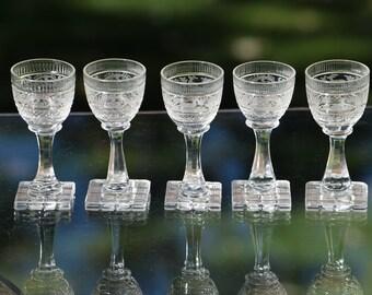 5 Vintage Etched Wine Cordials,  Vintage Etched Square Stem 1 oz After Dinner Drinks, Port ~ Dessert Wine Glasses, Liquor Cordials,
