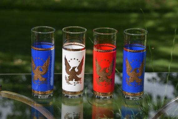 Vintage Red White & Blue COLLINS Glasses, Set of 4, Vintage Tall Cocktail Glasses, Vintage Gold Eagles Collins Glasses