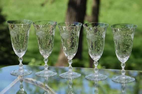 Vintage Etched Cocktail - Wine Glasses, Set of 5, Cambridge, Lucia, 1940's, Mixologist Craft Cocktail Glasses ~  Ice Tea Water Glasses