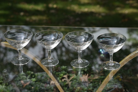 Vintage Etched Crystal Cocktail Glasses, Set of 4,  circa 1950's,  Mixologist Craft Cocktail Glasses, Vintage Crystal Cocktail Coupes