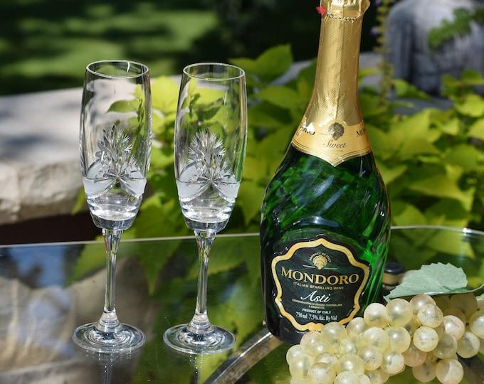 2 Vintage CRYSTAL Champagne Flutes ~ Glasses, 10 oz,  Wedding Champagne Toasting Glasses, Bohemia, Czech Republic, Crystal Champagne Glasses