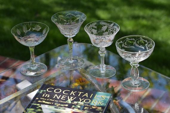 Vintage Etched Cocktail Martini Glasses, Set of 4 Mis-Matched Cocktail glasses, Mixologist Craft Cocktail Glasses, Manhattan Glasses