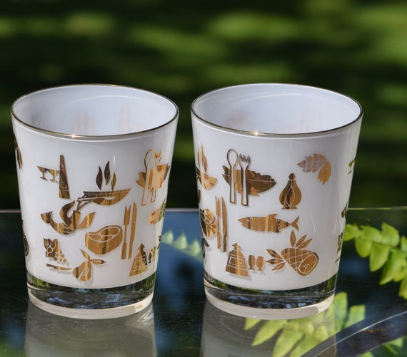 Vintage Cocktail ~ Whiskey - Flared Rocks Glasses, White with Gold Designs, Set of 4, Scotch ~ Bourbon Glasses, Cocktail glasses