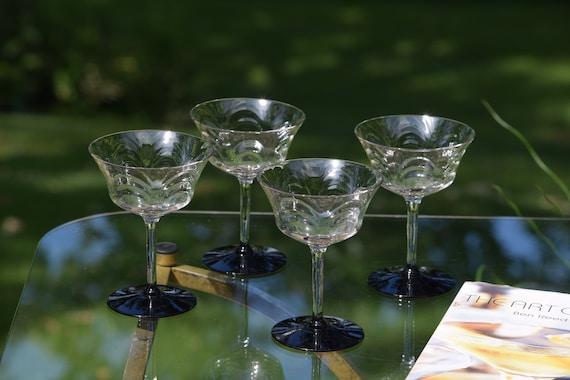 Vintage Cocktail ~ Martini Glasses, Set of 4, Morgantown, c. 1930's,  Vintage Champagne Glasses, Mixologists Craft Cocktail Glasses