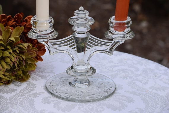 Vintage Pressed Glass Candelabras, Set of 2, Tiffin Franciscan, 1950's, Wedding Table Decor, Shabby Chic Candles