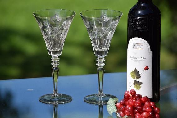 Vintage Floral Etched Wine Glasses, Set of 6,  Antique Etched Wine Glasses, Wedding Toasting Glasses, Tall Vintage Water Goblets