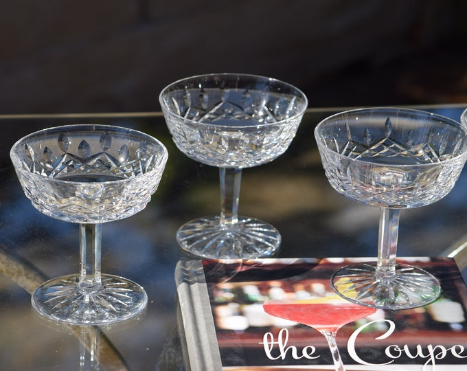 5 Vintage Waterford CRYSTAL Cocktail Glasses, Waterford, Lismore,  Champagne Tall Sherbet, Vintage Crystal Champagne Coupes