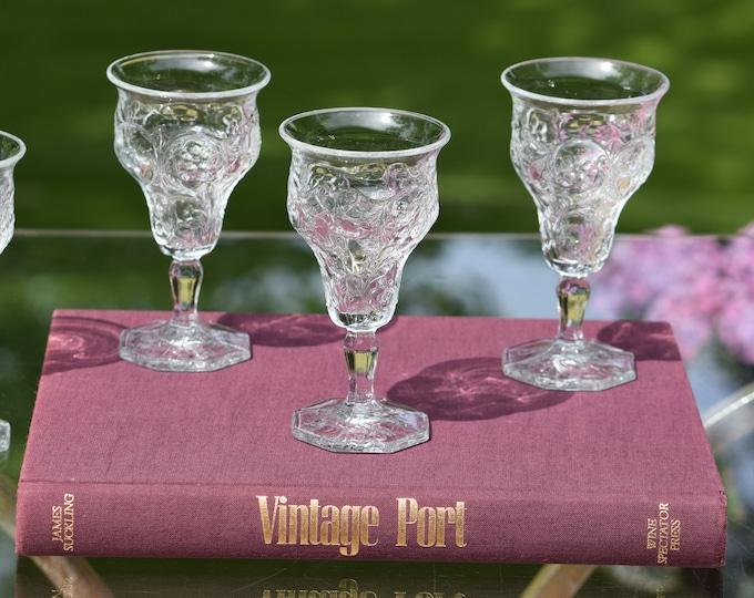 5 Antique Pressed Glass Wine Cordials ~ Liqueur Cordials, c. 1915,  After Dinner Drinks, 4 oz Port~Dessert Wines, Small Wine Glasses