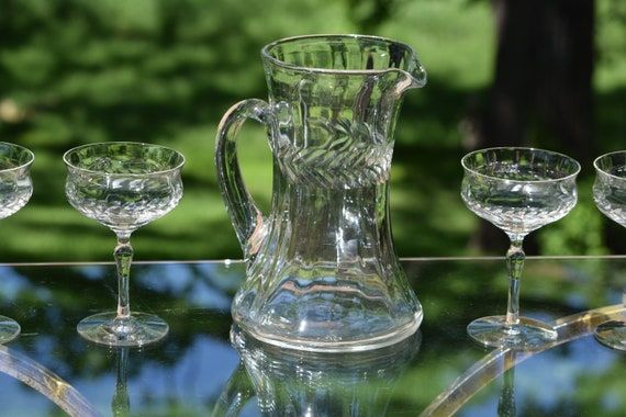 Vintage Etched Cocktail Pitcher with matching Cocktail Glasses, 1930's, Antique Polished Pontil Pitcher, Vintage Cocktail Coupes