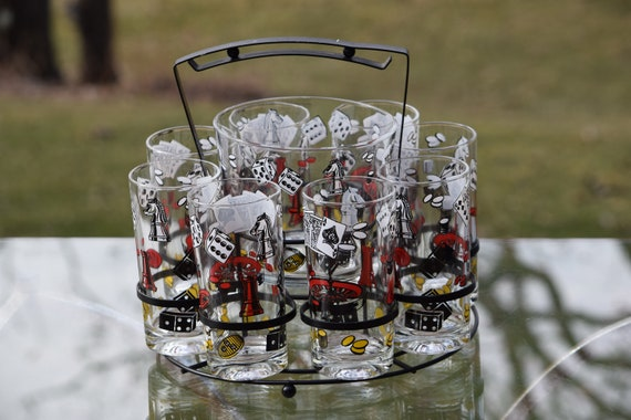 Vintage Black, Red & White Cocktail Highball Glasses Set of 8 with Ice Bucket in Caddy, Hazel Atlas, Las Vegas, Gaming and Gambling Designs