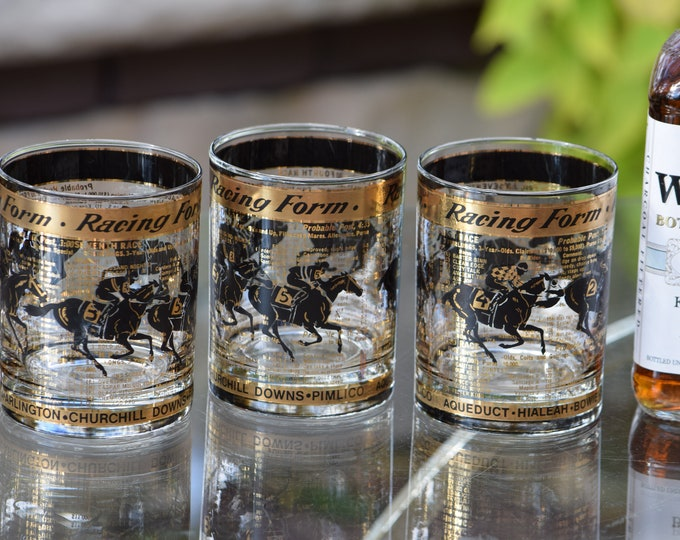 5 Vintage Cocktail ~ Whiskey Rocks Glasses, Racing Form, 1950's, Whiskey, Bourbon, Scotch Double Old Fashioned Glasses