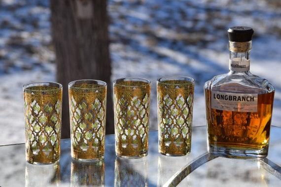 CULVER VALENCIA Cocktail Highball Glasses Set of 4, Mad Men Barware, Scotch Whiskey Bourbon Glasses, Mixologist Cocktail Glasses