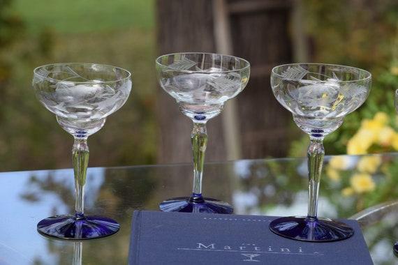Vintage Etched Cobalt Blue Cocktail ~ Martini Glasses, Set of 4, Mixologist Cocktail glasses,  Margarita Glasses, Home Bartender Glasses
