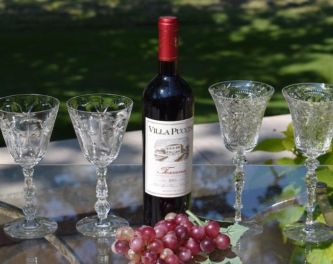 4 Vintage CRYSTAL Etched Wine Glasses, Set of 4 Mis-Matched Etched CRYSTAL Wine Glasses, Wine Glass Collector, Wedding Toasting Glasses