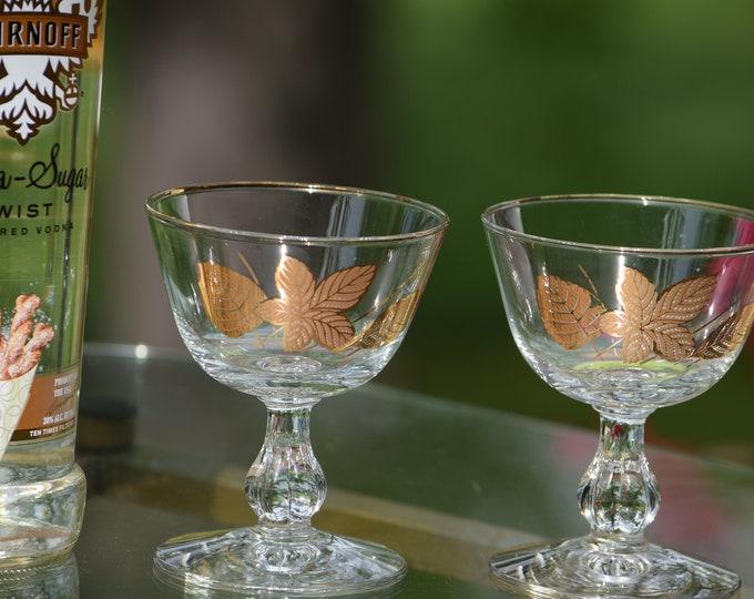 6 Vintage Gold Cocktail ~ Martini Glasses, Vintage Champagne Glasses, Mixologist Craft Cocktail Glasses, Manhattan glasses