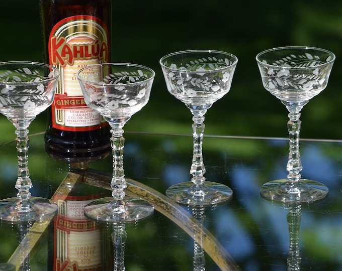 4 Vintage Etched Cocktail Glasses, Rock Sharpe,  Cocktail Party Glasses, Unique Etched Martini  Glasses, Mixologist Craft Cocktail Glasses