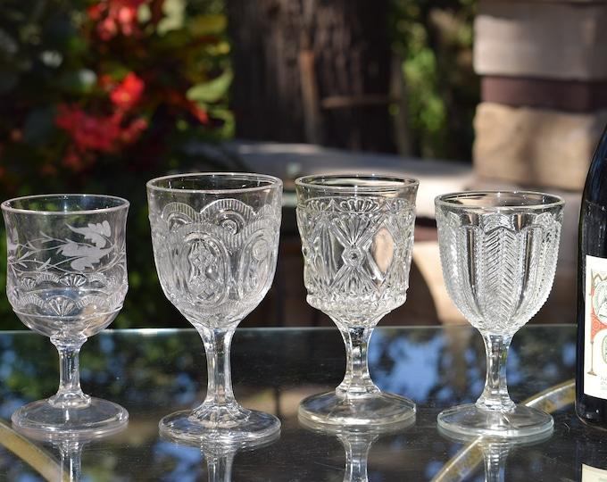4 Antique Pressed Glass Wine Glasses, Bryce, c.1887, 4 Mis-Matched EPAG Antique Wine Glasses, Elegant Pressed Glass Wine Glasses