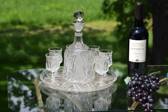 Antique EPAG Pressed Glass Wine Decanter with 6 matching wine cordials and serving tray, Antique After Dinner Port -Liquor Glasses