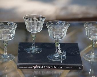 4 Vintage Etched Cocktail - Wine Glasses, After Dinner Drinks ~ 4 oz Cocktail Glasses, Liqueur ~ Sherry Glasses, Small Cocktail Glasses