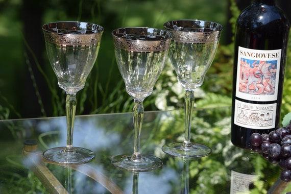 Vintage Platinum Encrusted Wine Glasses, Set of 6, Glastonbury Lotus, Platinum Rambler Rose, Vintage Silver Rim Water-Wine Goblet