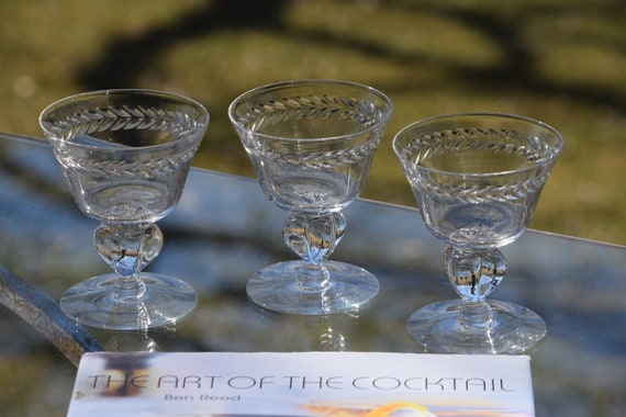 Vintage Etched CRYSTAL Cocktail Glasses, Set of 6,  Crystal Etched Martini Glasses ~ Champagne Glasses,  Manhattan Glasses, Home Bar Glasses