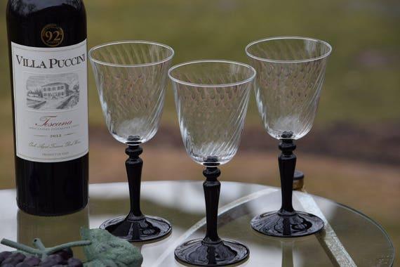 Vintage Swirl Glass with Black Stem Wine Glasses, Set of 6, Bar Cart Glasses, Cocktail Wine party, Black Stemmed Wine glasses